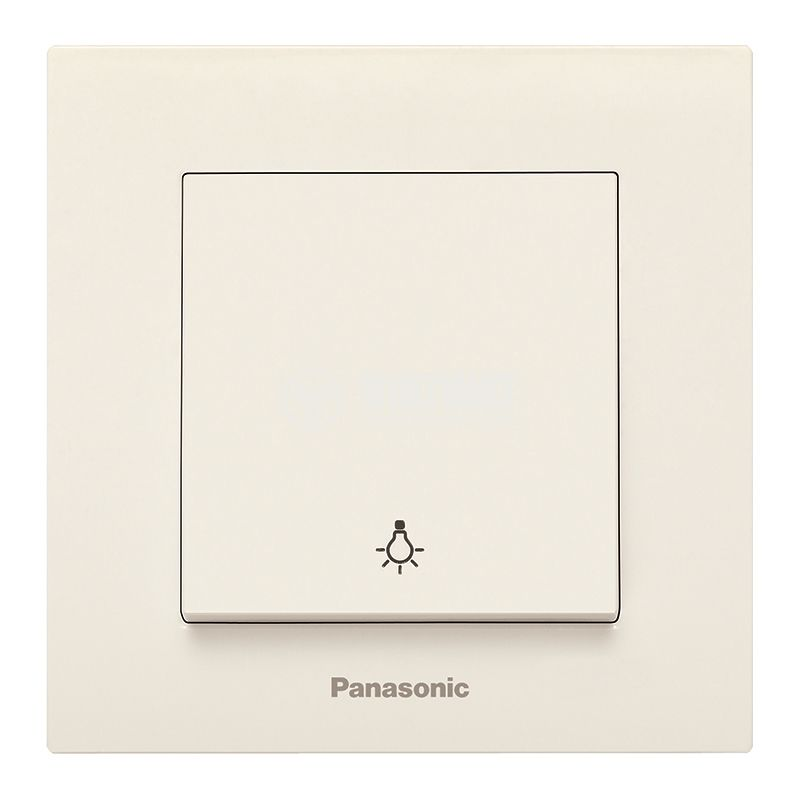 One-way Push Button, complete, Karre Plus, Panasonic, 10A, 250VAC, beige, WKTC0016-2BG