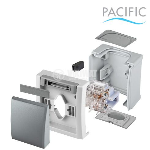 One-way push button, complete, Pacific, Panasonic, 10A, 250VAC, surface mounting, gray, IP54, WPTC4009-2GR - 3
