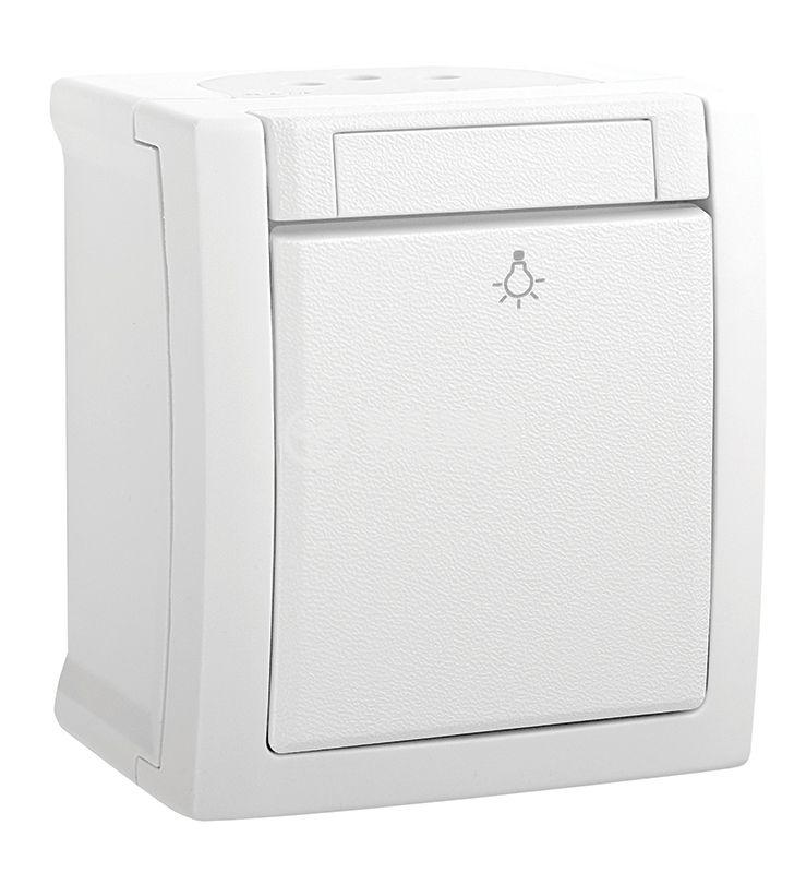 One-way Push button, Pacific, Panasonic, 10A, 250VAC, surface mounting, white, IP54, WPTC4009-2GWH
