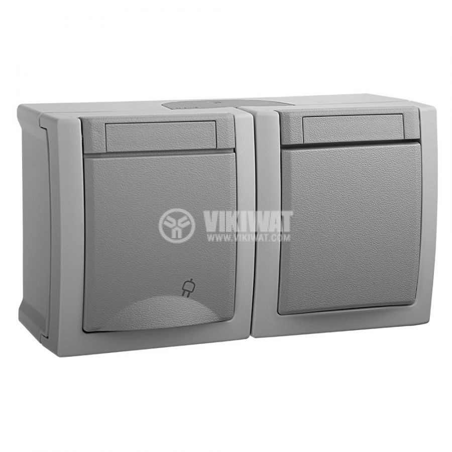 Electrical switch WPTC4801-2GR, 10A, 250VAC and electrical socket WPTC4832-2, 16A, 250VAC, Panasonic, IP54, grey - 1