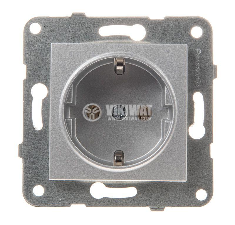 Power electrical socket, 2P+E, Karre Plus, Panasonic, 16A, 250VAC, silver, build-in, schuko, WKTT0202-2SL, mechanism+rocker - 1