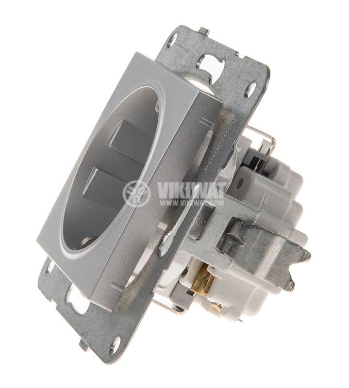Power electrical socket, 2P+E, Karre Plus, Panasonic, 16A, 250VAC, silver, build-in, schuko, WKTT0202-2SL, mechanism+rocker - 2