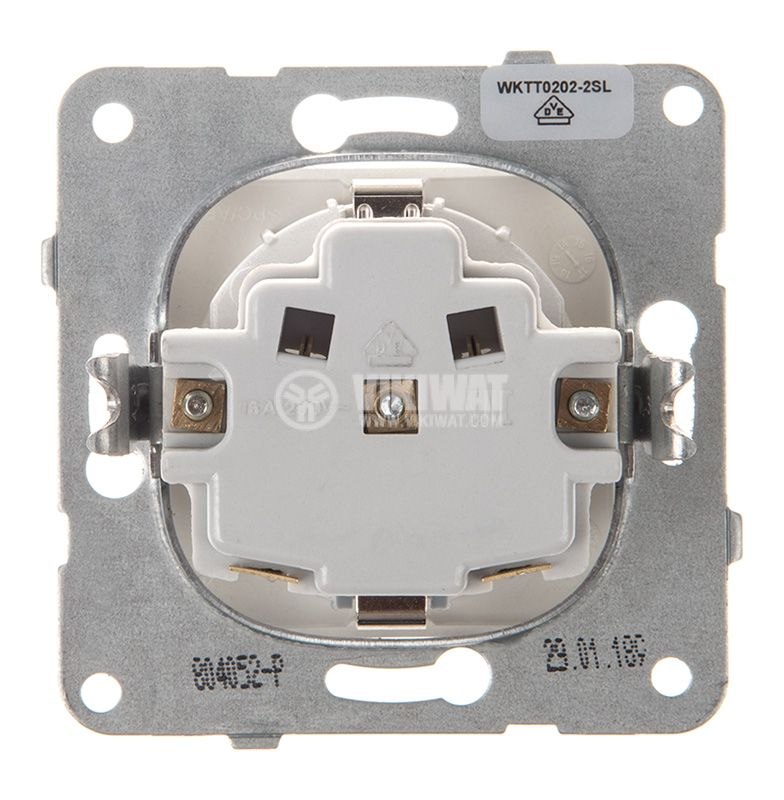Power electrical socket, 2P+E, Karre Plus, Panasonic, 16A, 250VAC, silver, build-in, schuko, WKTT0202-2SL, mechanism+rocker - 3