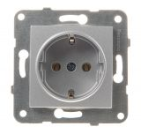 Single socket, 2P+E, 16A, 250VAC, silver, Karre Plus, Panasonic, WKTT0202-2SL, mechanism+rocker
