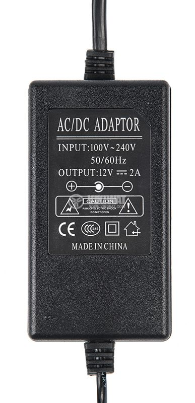 Adapter, 12VDC, 2A, 24W, 100-240VAC, 5.5x2.5mm, stabilized - 3