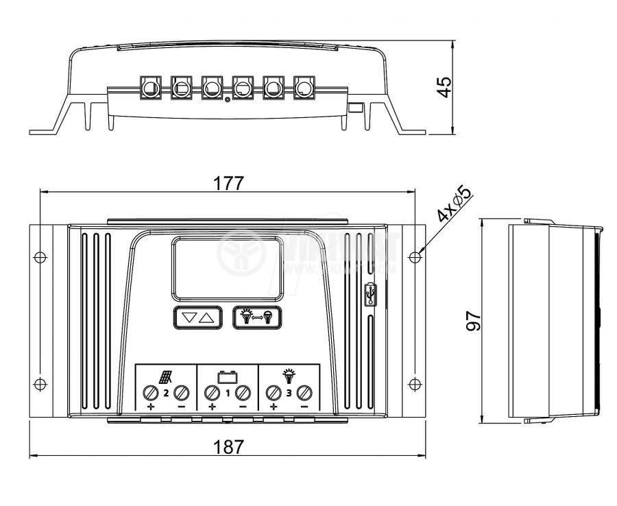 Контролер за соларни системи Solarix 4040, 40A, 12VDC / 24VDC - 2