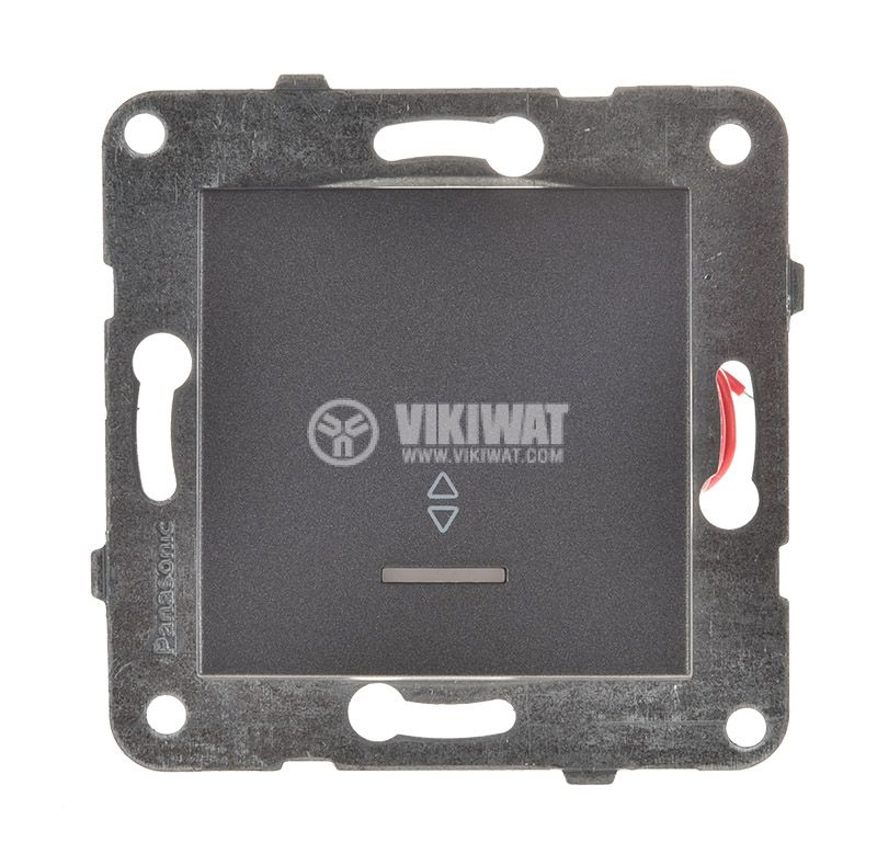 Two-way Switch, illuminated, Karre Plus, Panasonic, 10A, 250VAC, dark gray, WKTT0004-2DG, mechanism+rocker - 1