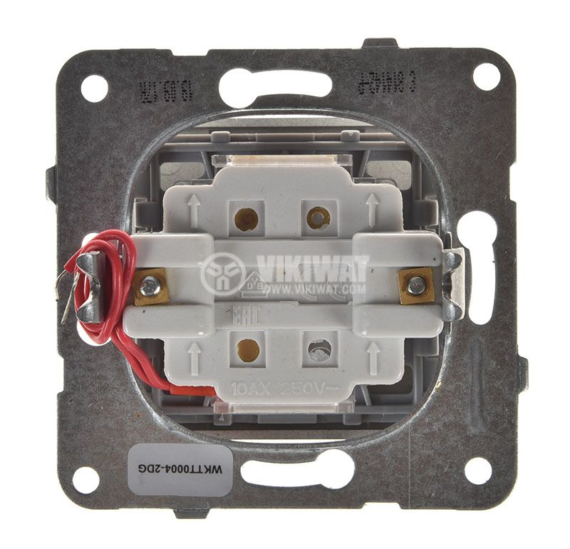 Two-way Switch, illuminated, Karre Plus, Panasonic, 10A, 250VAC, dark gray, WKTT0004-2DG, mechanism+rocker - 3