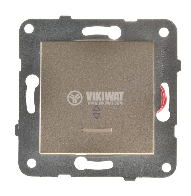 Two-way Switch, illuminated, Karre Plus, Panasonic, 10A, 250VAC, bronze, WKTT0004-2BR, mechanism+rocker - 1