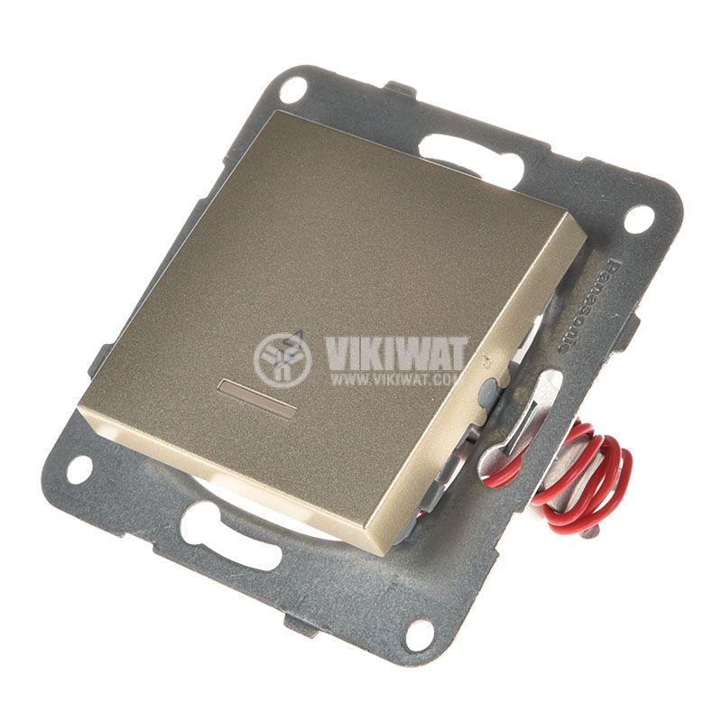 Two-way Switch, illuminated, Karre Plus, Panasonic, 10A, 250VAC, bronze, WKTT0004-2BR, mechanism+rocker - 2
