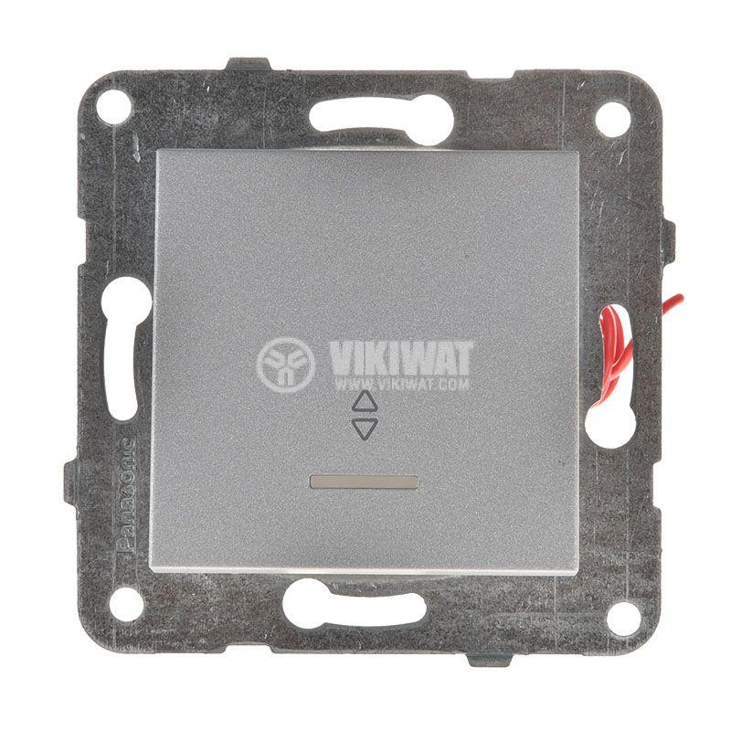 Електрически ключ светещ, Karre Plus, Panasonic, сх.6 девиаторен, 10A, 250VAC, за вграждане, светлосив, WKTT0004-2SL, механизъм+капак - 1