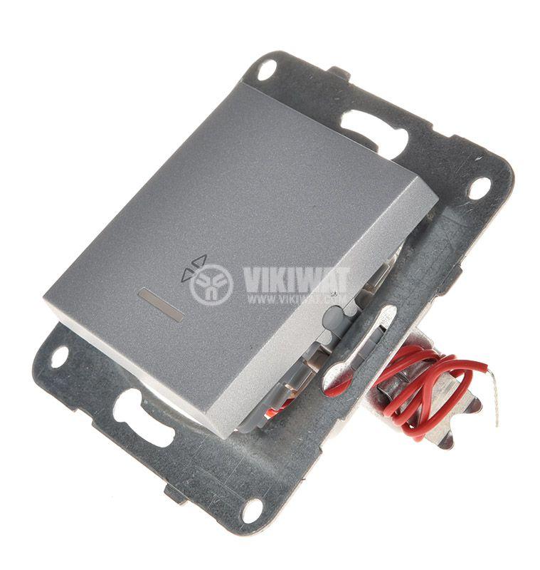 Електрически ключ светещ, Karre Plus, Panasonic, сх.6 девиаторен, 10A, 250VAC, за вграждане, светлосив, WKTT0004-2SL, механизъм+капак - 2