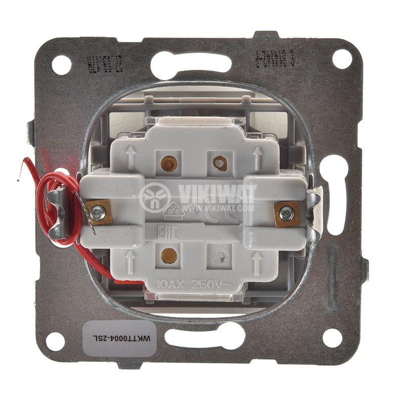 Електрически ключ светещ, Karre Plus, Panasonic, сх.6 девиаторен, 10A, 250VAC, за вграждане, светлосив, WKTT0004-2SL, механизъм+капак - 3