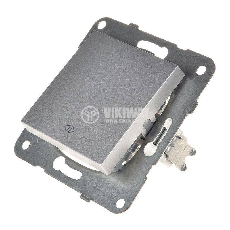 One-way Switch, Karre Plus, Panasonic, 10A, 250VAC, silver, WKTT0005-2SL, mechanism+rocker - 2