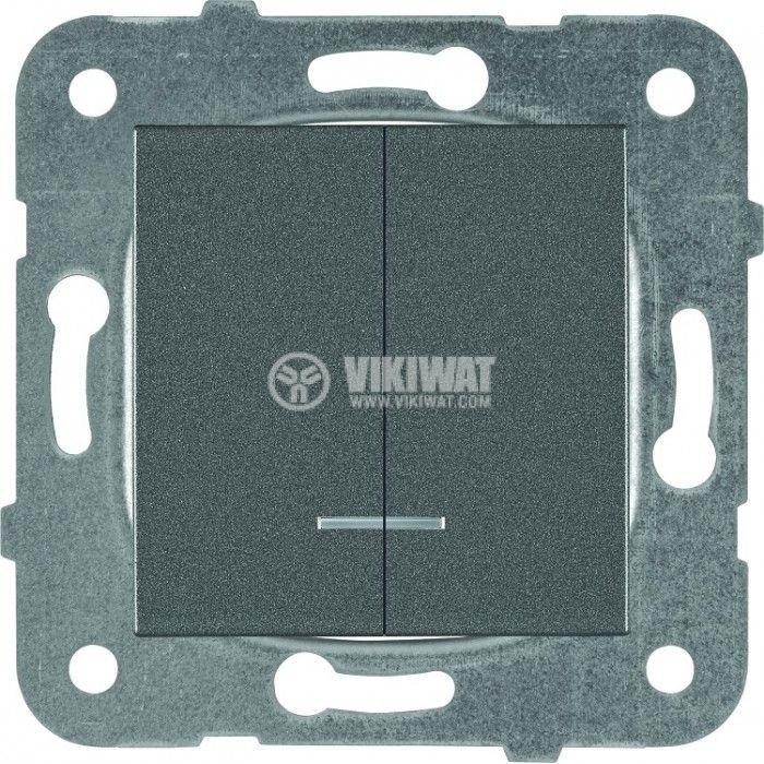 2-gang one-way switch, illuminated, Karre Plus, Panasonic, 10A, 250VAC, dark gray, WKTT0010-2DG, mechanism+rocker - 1