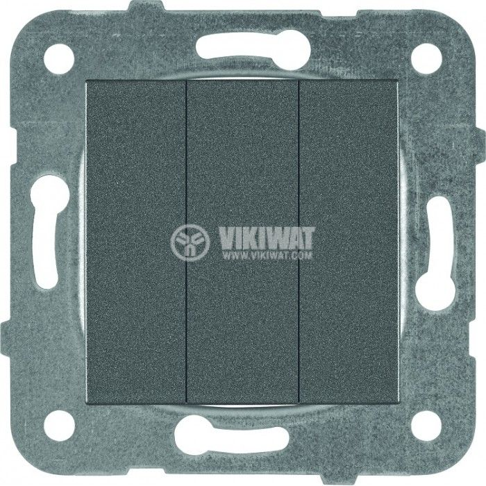 3-gang One-way Switch, Karre Plus, Panasonic, 10A, 250VAC, dark gray, WKTT0015-2DG, mechanism+rocker - 1