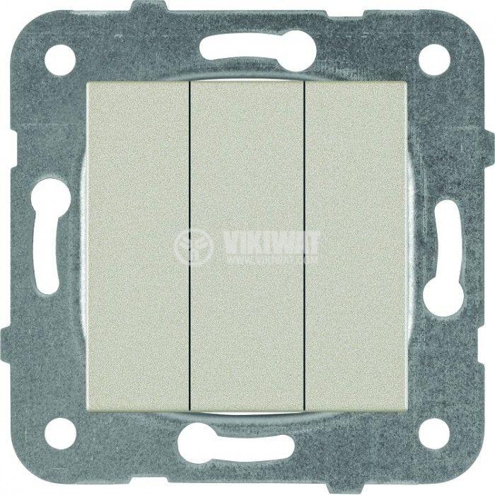 3-gang One-way Switch, Karre Plus, Panasonic, 10A, 250VAC, bronze, WKTT0015-2BR, mechanism+rocker - 1