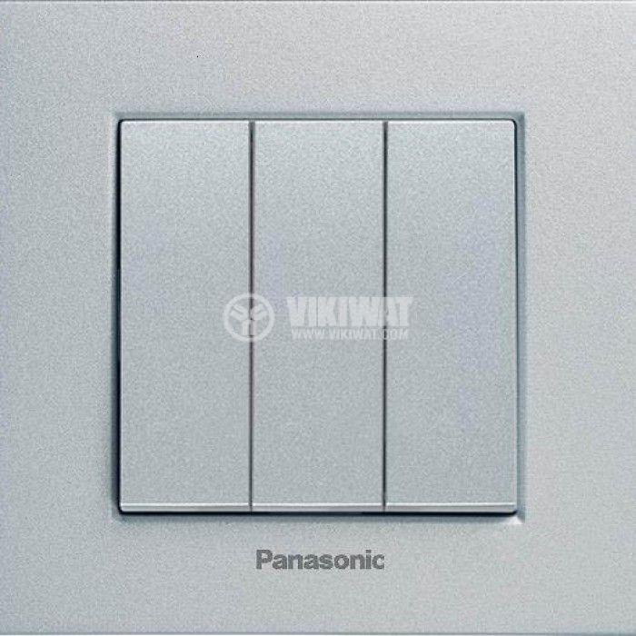 Електрически ключ, Karre Plus, Panasonic, сх.1 троен, 10A, 250VAC, за вграждане, светлосив, WKTT0015-2SL, механизъм+капак - 4