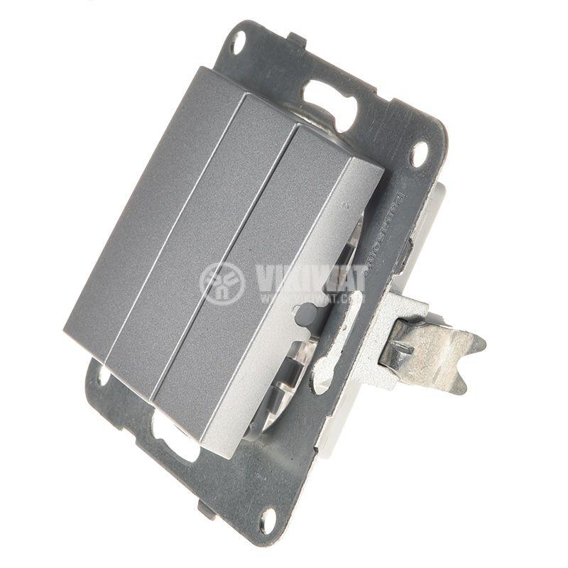 Електрически ключ, Karre Plus, Panasonic, сх.1 троен, 10A, 250VAC, за вграждане, светлосив, WKTT0015-2SL, механизъм+капак - 2