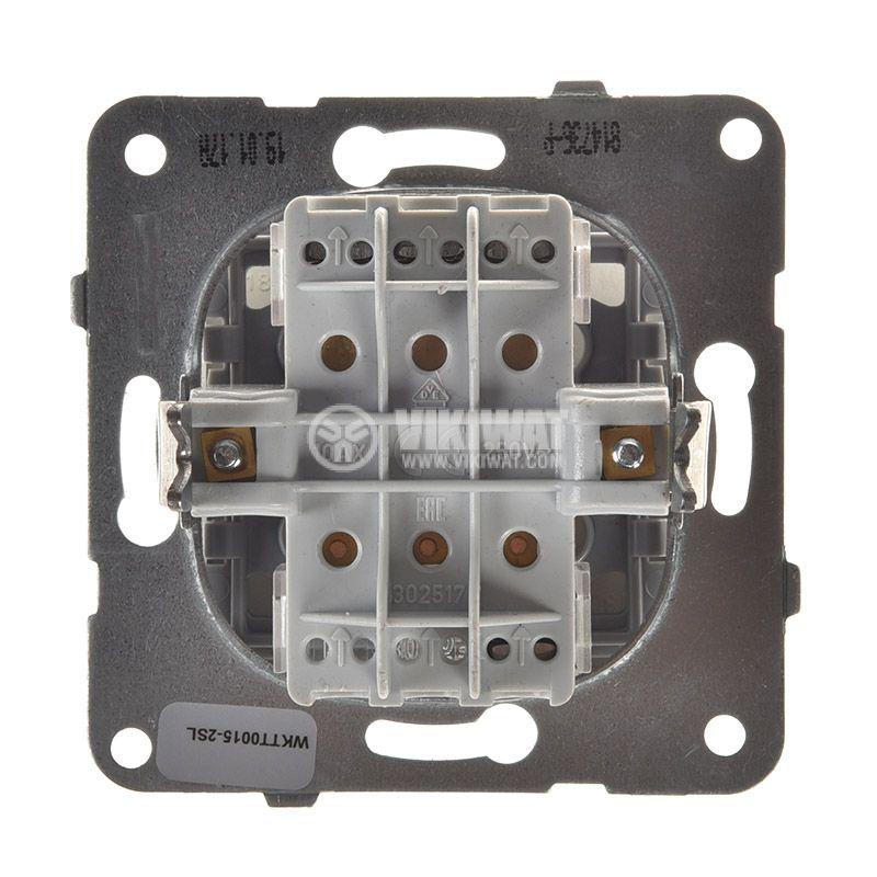 Електрически ключ, Karre Plus, Panasonic, сх.1 троен, 10A, 250VAC, за вграждане, светлосив, WKTT0015-2SL, механизъм+капак - 3
