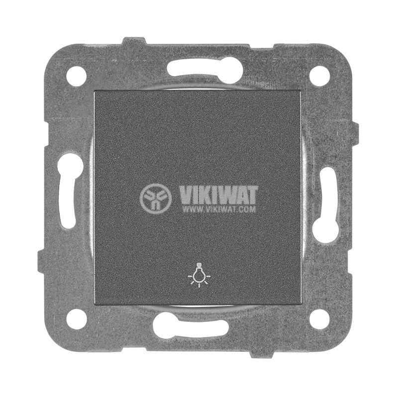 One-way Push Button illuminated Karre Plus, Panasonic, 250 VAC, 10A, dark gray, WKTT0016-2DG, mechanism+rocker - 1