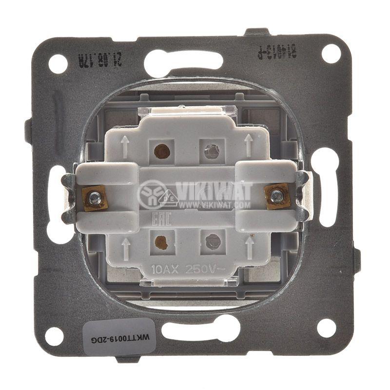 One-way Push Button illuminated Karre Plus, Panasonic, 250 VAC, 10A, dark gray, WKTT0016-2DG, mechanism+rocker - 2