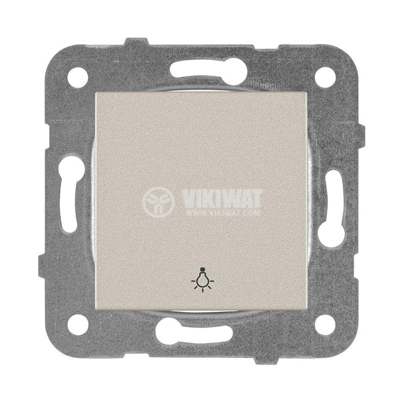 One-way Push Button illuminated Karre Plus, Panasonic, 250 VAC, 10A, bronze, WKTT0016-2BR, mechanism+rocker