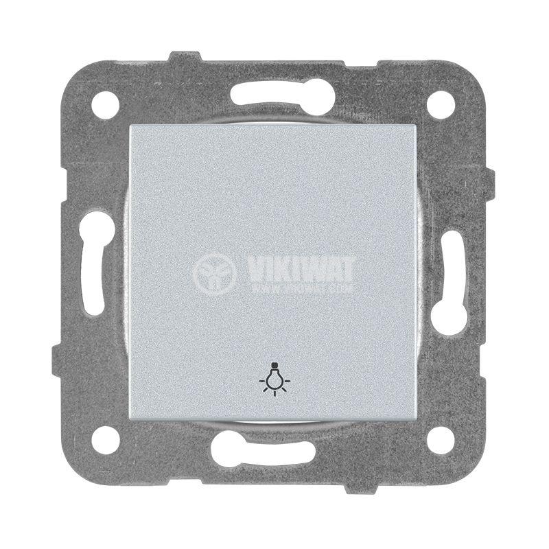 One-way Push Button illuminated Karre Plus, Panasonic, 250 VAC, 10A, silver, WKTT0016-2SL, mechanism+rocker - 1