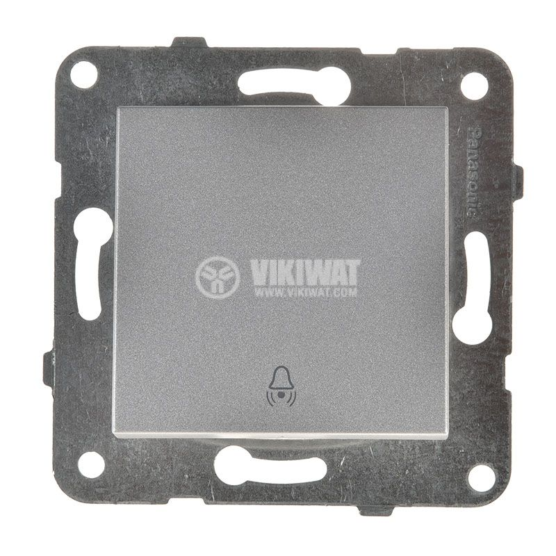 Electric switch with bell symbol, Karre Plus, Panasonic, 250 VAC, 10A, push button, silver, WKTT0019-2SL, mechanism+rocker - 1