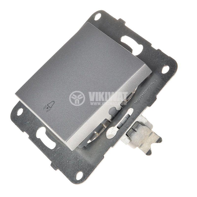 Electric switch with bell symbol, Karre Plus, Panasonic, 250 VAC, 10A, push button, silver, WKTT0019-2SL, mechanism+rocker - 2