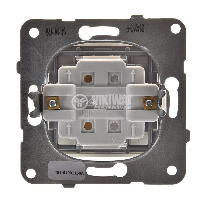 Electric switch with bell symbol, Karre Plus, Panasonic, 250 VAC, 10A, push button, silver, WKTT0019-2SL, mechanism+rocker - 3