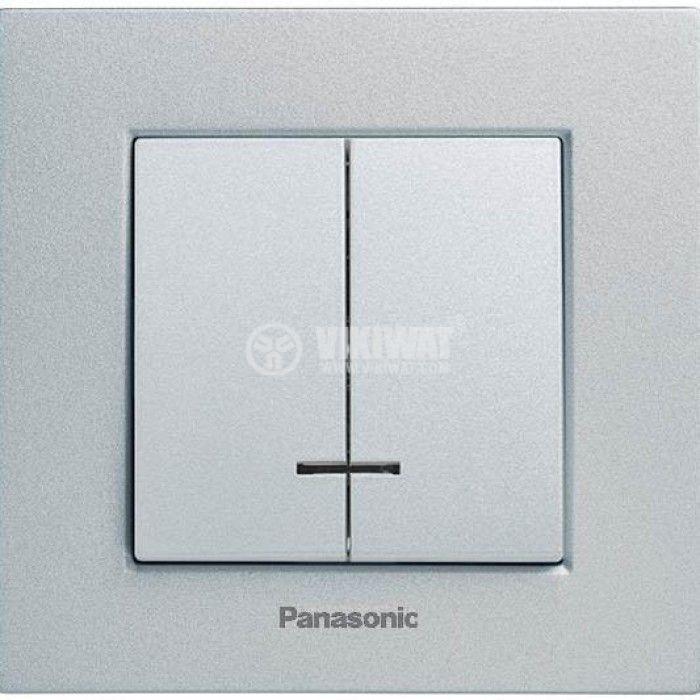 2-gang one-way switch, illuminated, Karre Plus, Panasonic, 10A, 250VAC, silver, WKTT0010-2SL, mechanism+rocker - 4