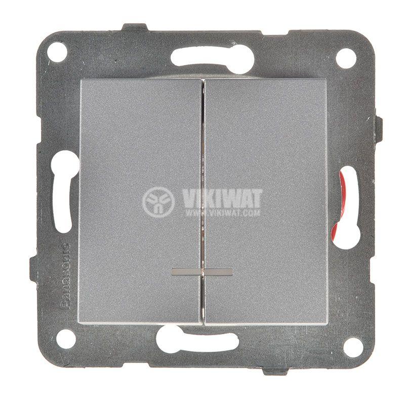2-gang one-way switch, illuminated, Karre Plus, Panasonic, 10A, 250VAC, silver, WKTT0010-2SL, mechanism+rocker - 1