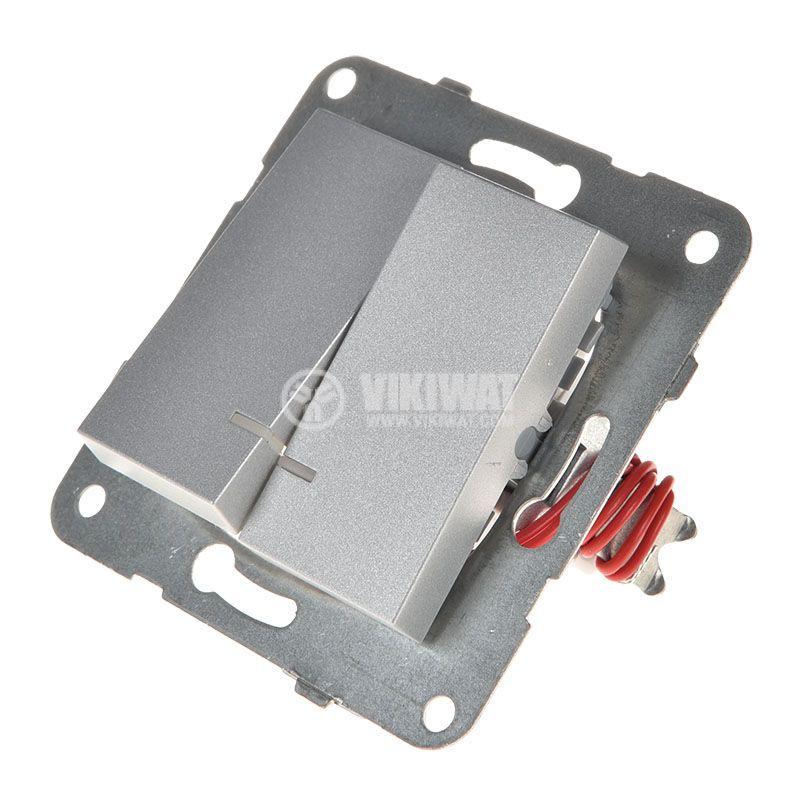 2-gang one-way switch, illuminated, Karre Plus, Panasonic, 10A, 250VAC, silver, WKTT0010-2SL, mechanism+rocker - 2
