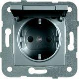 Електрически контакт, Karre Plus, Panasonic, единичен, 16A, 250VAC, тъмносив, за вграждане, шуко, с предпазен капак WKTТ0210-2DG, механизъм+капак