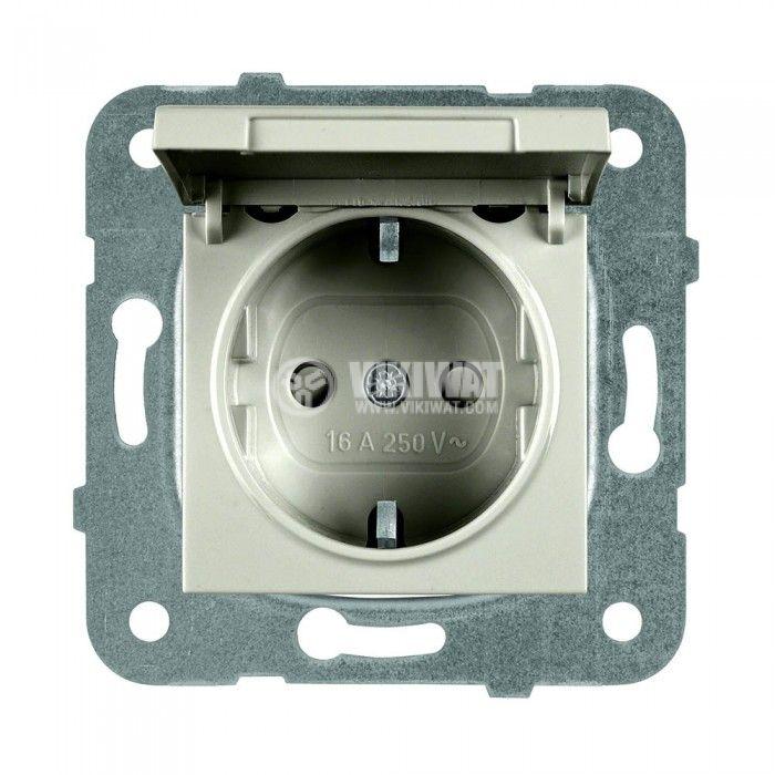 Power electrical socket, 2P+E, Karre Plus, Panasonic, 16A, 250VAC, child prot., build-in, schuko, WKTT0210-2BR, mechanism+rocker - 1