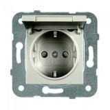 Електрически контакт, Karre Plus, Panasonic, единичен, 16A, 250VAC, бронз, за вграждане, шуко, с предпазен капак WKTТ0210-2BR, механизъм+капак