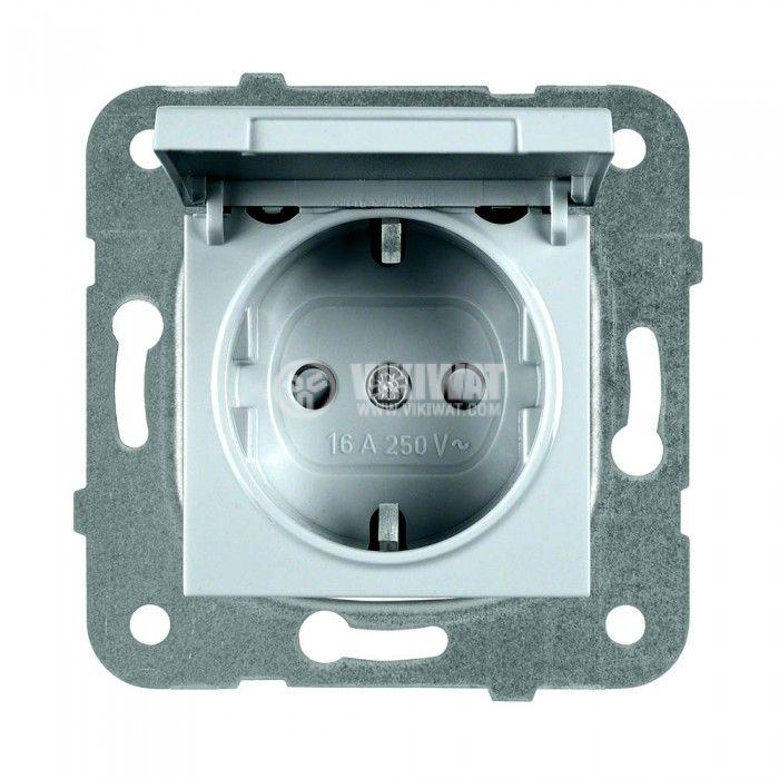 Електрически контакт, Karre Plus, Panasonic, единичен, 16A, 250VAC, светлосив, за вграждане, шуко, с предпазен капак WKTТ0210-2SL, механизъм+капак - 1