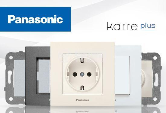 Електрически контакт, Karre Plus, Panasonic, единичен, 16A, 250VAC, светлосив, за вграждане, шуко, с предпазен капак WKTТ0210-2SL, механизъм+капак - 3
