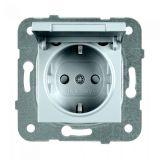 Електрически контакт, Karre Plus, Panasonic, единичен, 16A, 250VAC, светлосив, за вграждане, шуко, с предпазен капак WKTТ0210-2SL, механизъм+капак