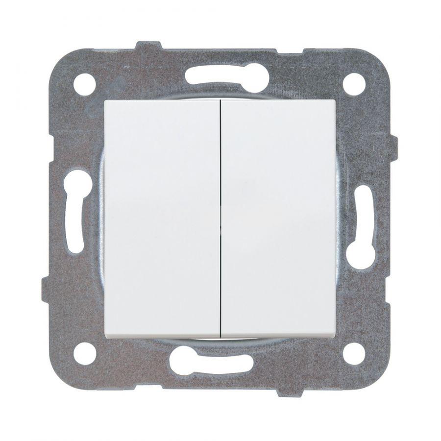 Електрически ключ, Karre Plus, Panasonic, сх.5 двоен сериен, 10A, 250VAC, за вграждане, бял, WKTT0009-2WH, механизъм+капак