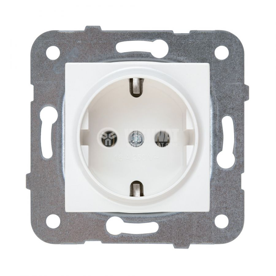 Power electrical socket, 2P+E, Karre Plus, Panasonic, 16A, 250VAC, white, build-in, schuko, WKTT0202-2WH, mechanism+rocker - 1