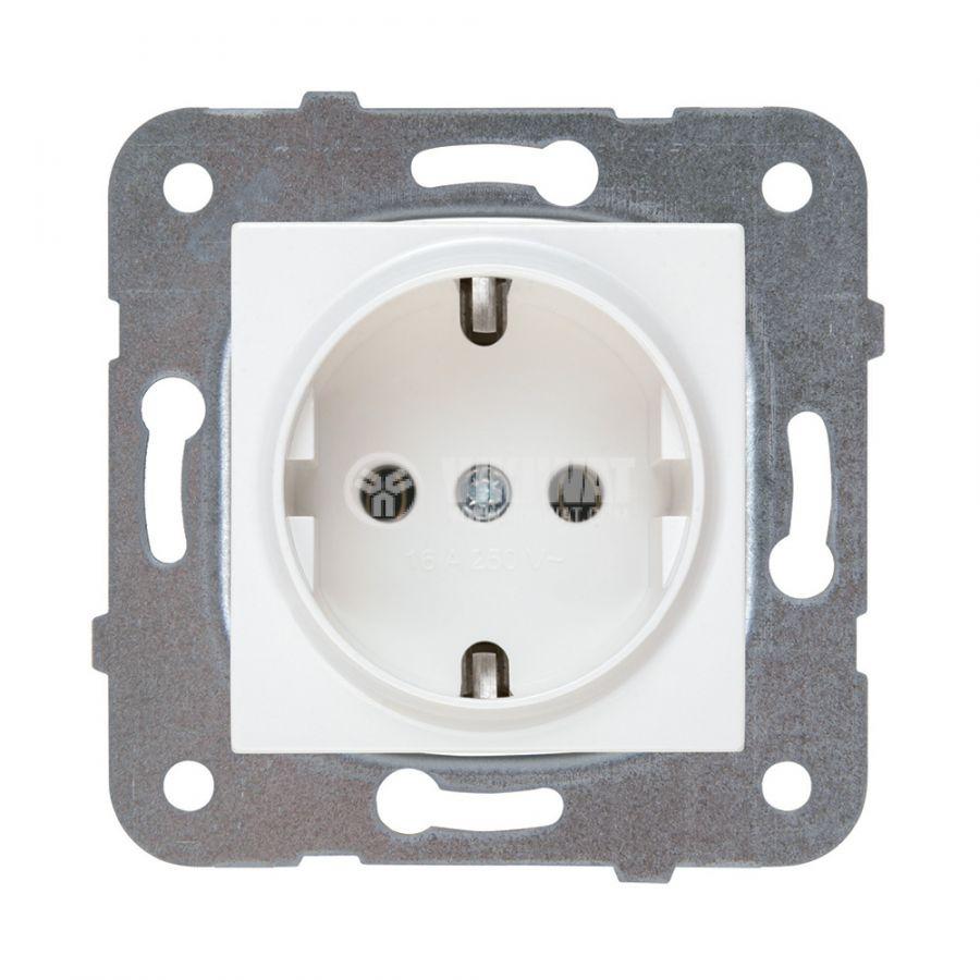 Електрически контакт, Karre Plus, Panasonic, единичен, 16A, 250VAC, бял, за вграждане, шуко, WKTТ0202-2WH, механизъм+капак - 1