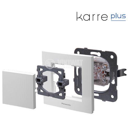 Електрически контакт, Karre Plus, Panasonic, единичен, 16A, 250VAC, бял, за вграждане, шуко, WKTТ0202-2WH, механизъм+капак - 2