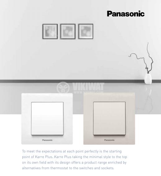Електрически контакт, Karre Plus, Panasonic, единичен, 16A, 250VAC, бял, за вграждане, шуко, WKTТ0202-2WH, механизъм+капак - 3