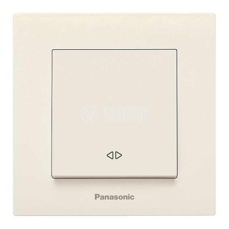 Електрически ключ, Karre Plus, Panasonic, кръстат, схема 7, 10A, 250VAC, за вграждане, крем, WKTC0005-2BG