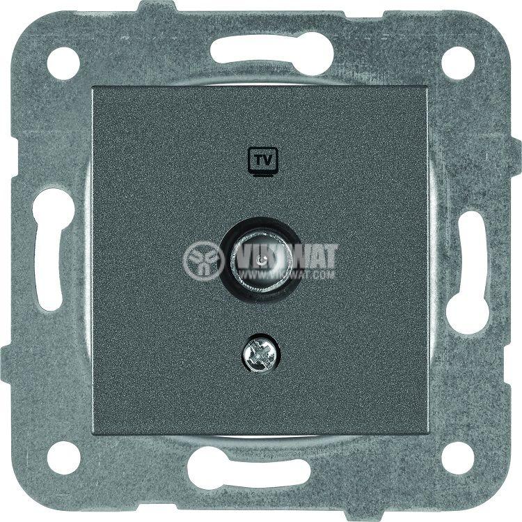 TV socket, Lossless, dark gray, WKTT0454-2DG, mechanism+cover plate - 1