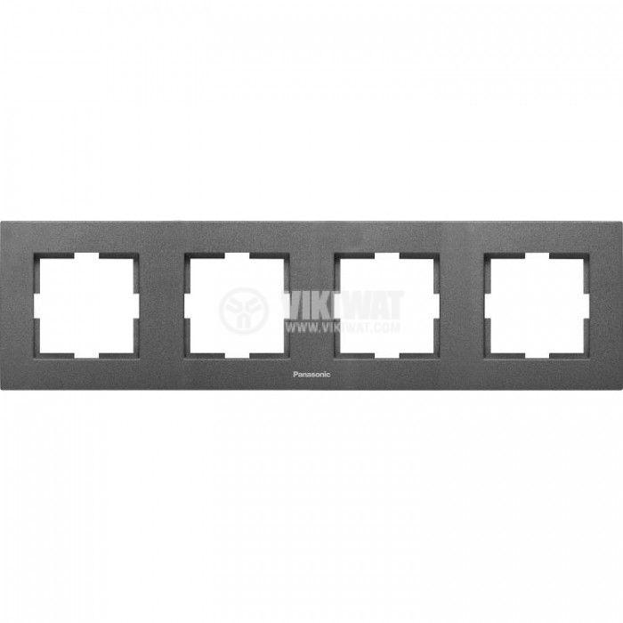 Рамка, Karre Plus, Panasonic, четворна, хоризонтална, 81x296mm, тъмносива, WKTF0804-2DG - 1