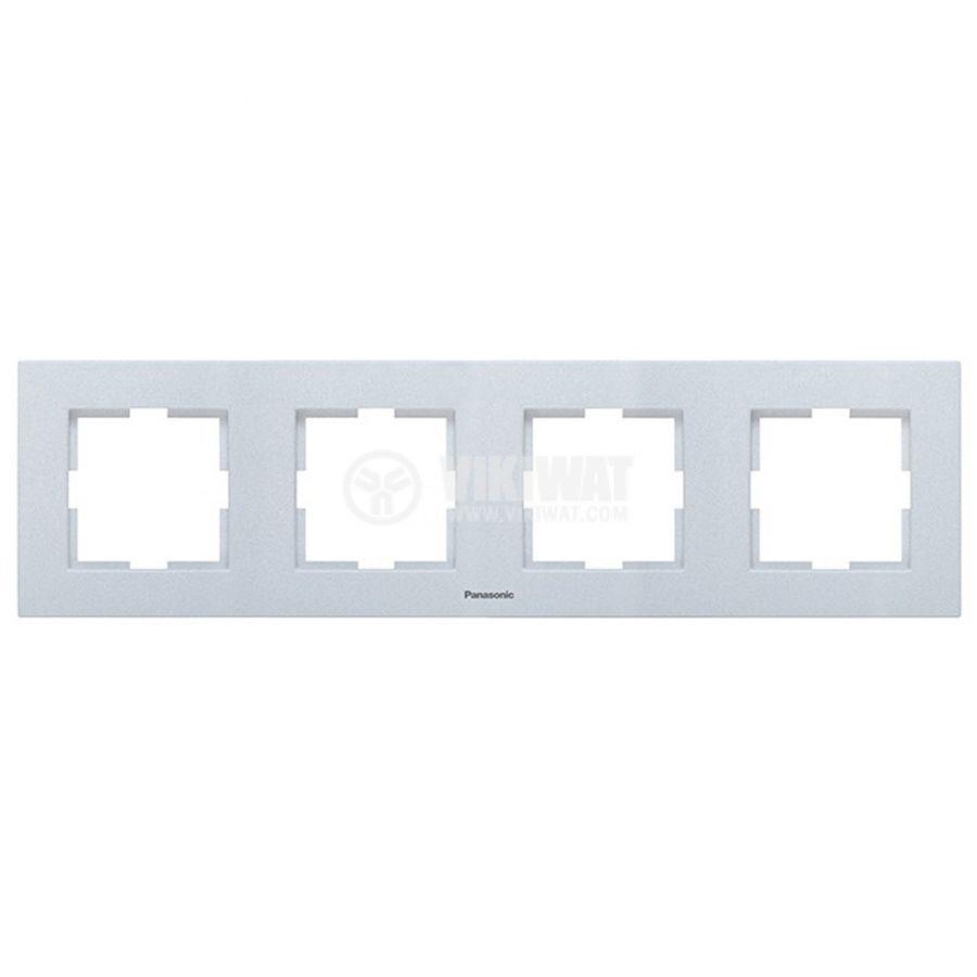 4-gang frame, Panasonic, horizontal, 81x296mm, silver, WKTF0804-2SL - 1