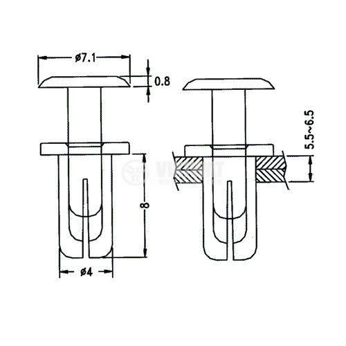 Автомобилен крепеж, ф4х8mm, полиамид, черен - 2